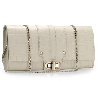 Handmade Jasbir Gill Women's White Leather Embroidered Button Clutch (India) - One size