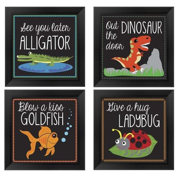 Shop Erin Clark \'Kid\'s Animal Sayings\' Wood Framed Art (Pack of 4 ...