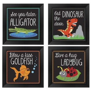 Erin Clark 'Kid's Animal Sayings' Wood Framed Art (Pack of 4)