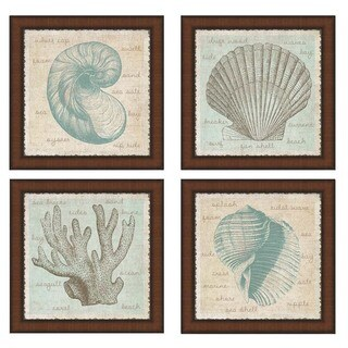 Erin Clark 'Sea Shells' Framed Art (Set of 4) - Teal/Cream