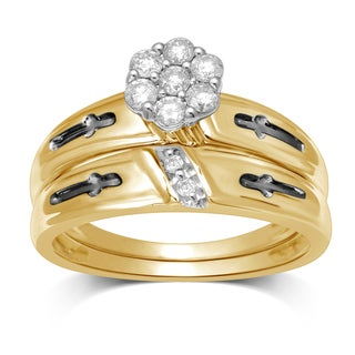 Unending Love 10k White Gold 1/3ct TDW Diamond Flower Top Bridal Ring (I-J, I2-I3)