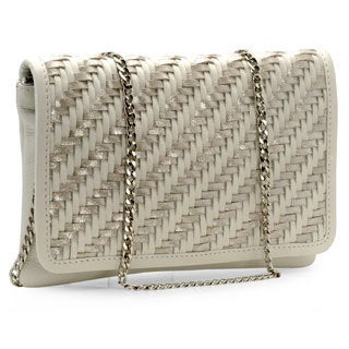 Jasbir Gill Women's White and Silver Leather Flap Clutch (India)