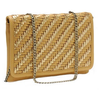 Jasbir Gill Women's Tan and Gold Leather Flap Clutch (India)