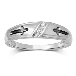 Unending Love 10k White Gold Men's 1/3ct TDW Diamond Band of Trio Set (I-J, I2-I3)