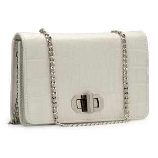 Jasbir Gill Women's White Leather Button Clutch (India)