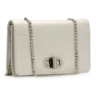 Handmade Jasbir Gill Women's White Leather Button Clutch (India) - One size