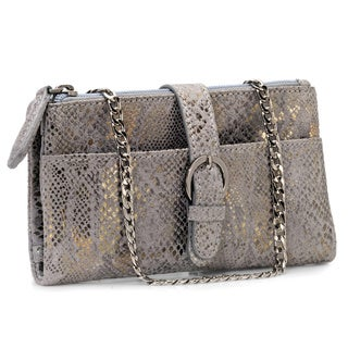 Jasbir Gill Women's Dark Grey and Gold Leather Zipper Clutch (India)