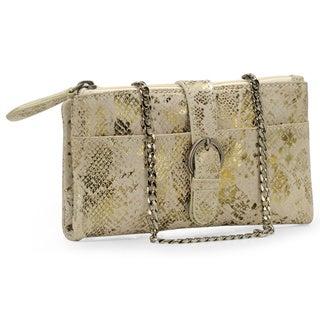 Handmade Jasbir Gill Women's White and Gold Leather Zipper Clutch (India)