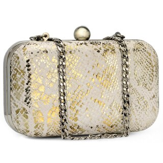 Handmade Jasbir Gill Women's White and Gold Leather Clasp Clutch (India) - One Size