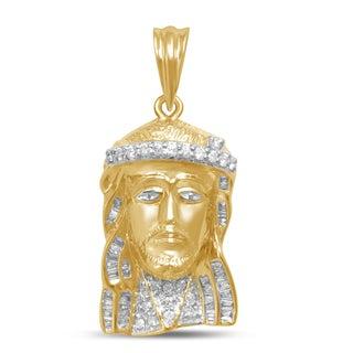 Unending Love 10k Yellow Gold 1/2ct TDW Diamond Jesus Face Necklace (I-J, I2-I3)