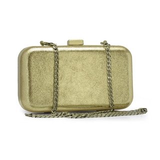 Jasbir Gill Women's Gold Leather Embroidered Clasp Clutch (India)