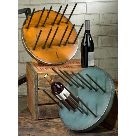 Blue/Yellow Round Metal Wine Holders (Set of 2)