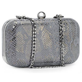Jasbir Gill Women's Dark Grey and Gold Leather Clasp Clutch (India)
