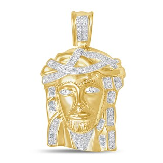 Unending Love 10k Yellow Gold 1/5ct TDW Diamond Jesus Face Necklace (I-J, I2-I3)