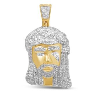 Unending Love 10k Yellow Gold 2/5ct TDW Diamond Jesus Face Necklace (I-J, I2-I3)