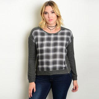 Shop the Trends Women's Charcoal Rayon Blend Plus-size Long-sleeve Checkered Print Sweater Top