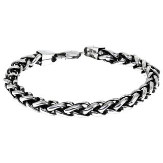 Stainless Steel Men's Wheat Chain Bracelet - Silver