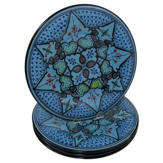 Le Souk Ceramique Set of 4 Sabrine Design Stoneware Dinner Plates (Tunisia)