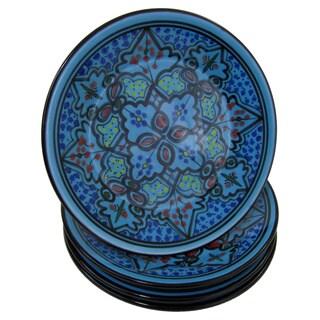Handmade Le Souk Ceramique Set of 4 Sabrine Design Stoneware Side Plates (Tunisia)|https://ak1.ostkcdn.com/images/products/13402886/P20098612.jpg?_ostk_perf_=percv&impolicy=medium