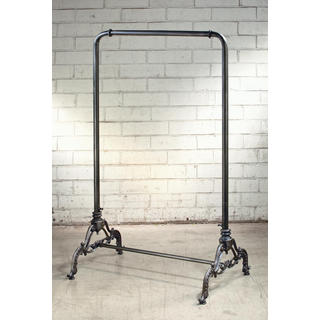 Vintage Black Iron Metal 56-inch Clothing Rack