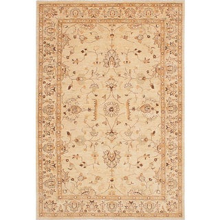 ecarpetgallery Hand-Knotted Chobi Finest Ivory Wool Rug (6'3 x 9'1)