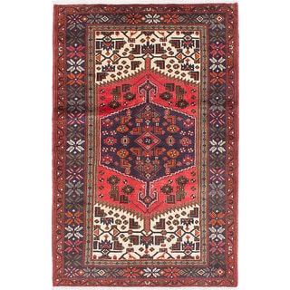 ecarpetgallery Hand-Knotted Hamadan Red Wool Rug (4'3 x 6'7)