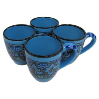 Handmade Le Souk Ceramique Set of 4 Sabrine Design Stoneware Tea Cups (Tunisia)
