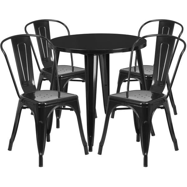 Strange Shop 30 Round Metal Indoor Outdoor Table Set With 4 Cafe Cjindustries Chair Design For Home Cjindustriesco