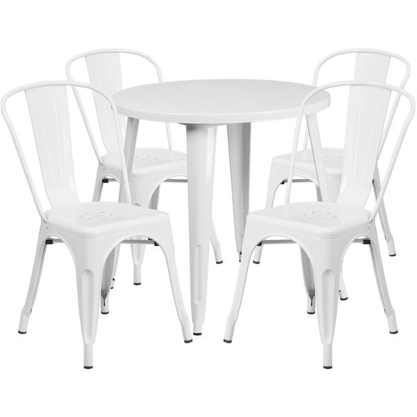 Surprising Shop 30 Round Metal Indoor Outdoor Table Set With 4 Cafe Cjindustries Chair Design For Home Cjindustriesco