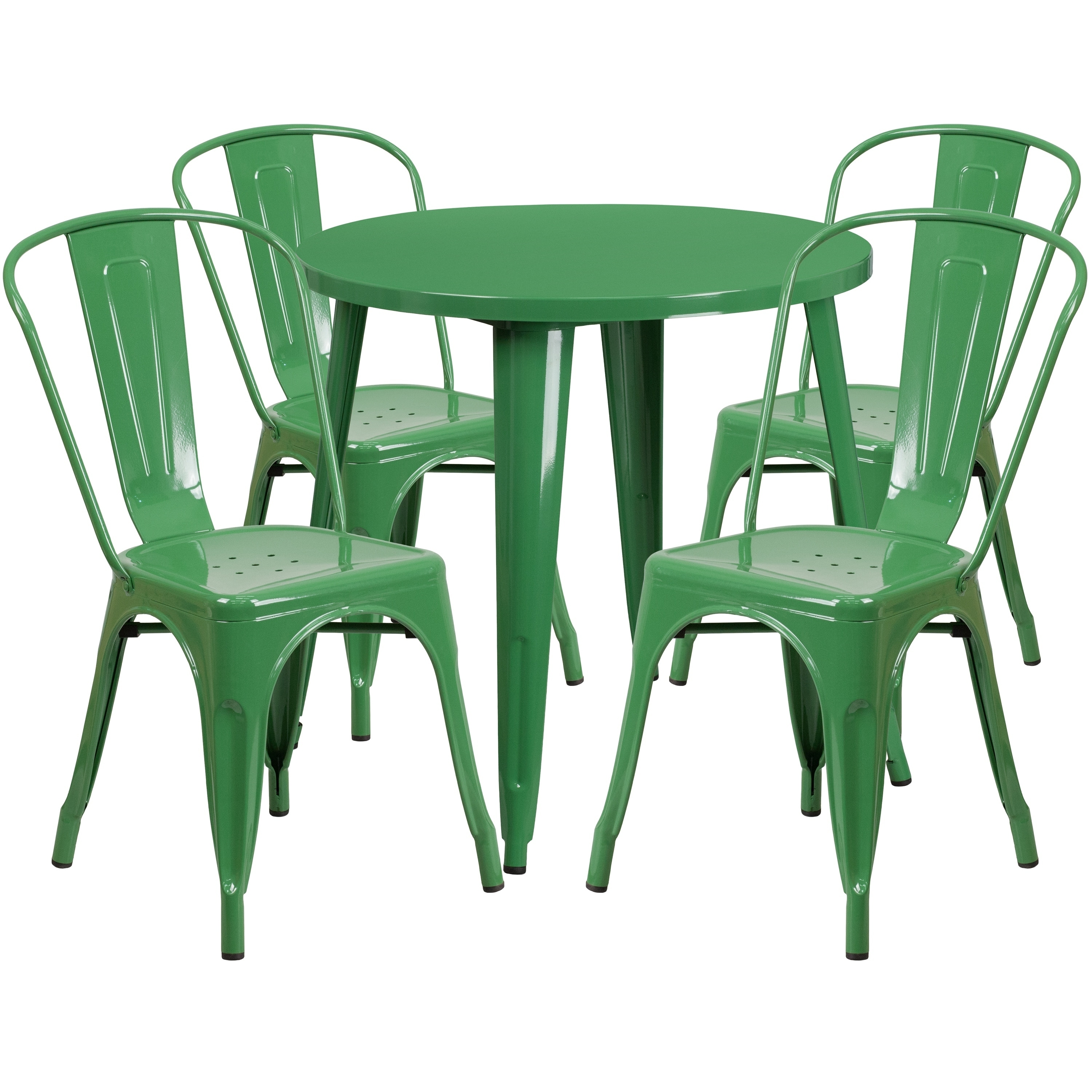 Awe Inspiring 30 Round Metal Indoor Outdoor Table Set With 4 Cafe Chairs Cjindustries Chair Design For Home Cjindustriesco