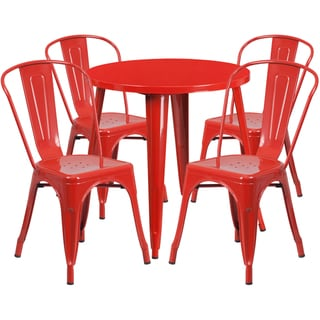 30-inch Round Metal Indoor-Outdoor Table Set with 4 Cafe Chairs