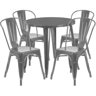 30-inch Round Metal Indoor-Outdoor Table Set with 4 Cafe Chairs (5 options available)