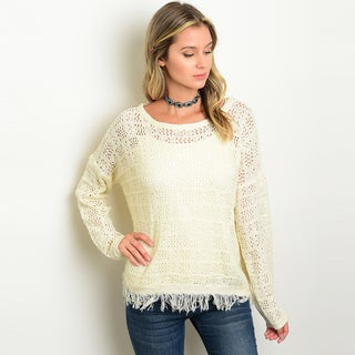 Shop the Trends Women's White Knit Long-sleeve Fringed Hem Sweater