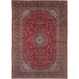 ecarpetgallery Hand-Knotted Kashan Red Wool Rug (10'0 x 14'3)