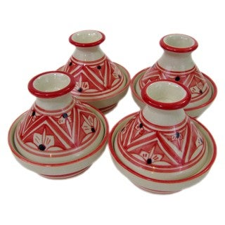 Handmade Le Souk Ceramique Set of 4 Nejma Design Mini Stoneware Tagines (Tunisia)