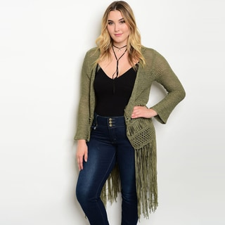 Shop The Trends Women's Plus-size Long-sleeve Open-front Knit Cardigan