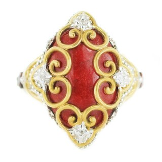 One-of-a-kind Michael Valitutti Palladium Silver Red Jade, Garnet and White Sapphire Ring