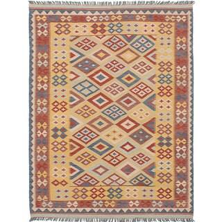 ecarpetgallery Hand-Woven Anatolian Kilim Yellow Wool Kilim (5'1 x 6'6)