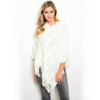Shop the Trends Women's Acrylic Soft Textured Knit Fringe Trim Poncho