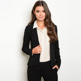 Shop The Trends Women's Long-sleeve Button-front Blazer Jacket