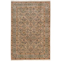 ecarpetgallery Hand-Knotted Royal Kashan Green Wool Rug (6'4 x 9'3)
