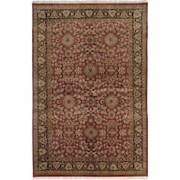 ecarpetgallery Hand-Knotted Finest Agra Jaipur Red Wool Rug (5'10 x 9'0)