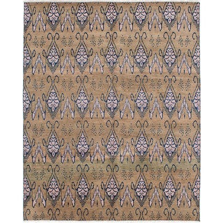 ecarpetgallery Hand-Knotted Ikat Royale Brown Wool Rug (8'0 x 9'8)