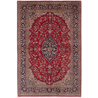 ecarpetgallery Hand-Knotted Royal Kashan Red Wool Rug (6'0 x 9'0)