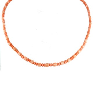 One-of-a-kind Michael Valitutti Palladium Silver Salmon Coral Necklace