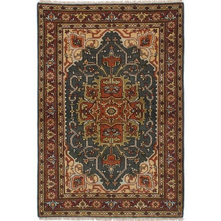 ecarpetgallery Hand-Knotted Serapi Heritage Green Wool Rug (4'2 x 6'1)