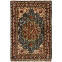 ecarpetgallery Hand-Knotted Serapi Heritage Green Wool Rug - 4'2 x 6'1