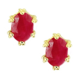 One-of-a-kind Michael Valitutti Palladium Silver Ruby Six Prong Crown Stud Earrings