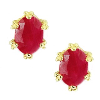 Michael Valitutti Palladium Silver Ruby Six Prong Crown Stud Earrings