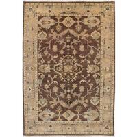 ecarpetgallery Hand-Knotted Royal Ushak Brown Wool Rug - 6'0 x 8'10